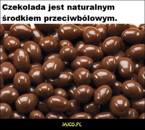Czekolada jest naturalnym środkiem przeciwbólowym