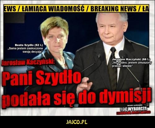 Beata Szydło podała się do dymisji!